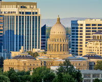 Idaho state capital and park of the Boise skyline at sunrise Royalty Free Stock Images