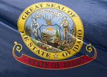 Idaho State Flag. A close-up of the Idaho State Flag waving in the wind stock photo