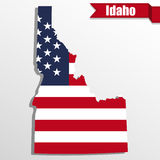 Idaho State map with US flag inside and ribbon Stock Images