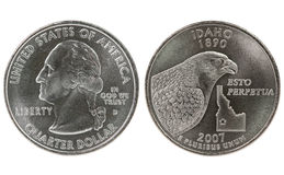 Idaho State Quarter coin. On white background Royalty Free Stock Image