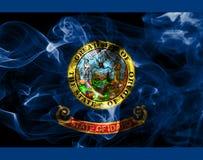 Idaho state smoke flag, United States Of America. On a black background royalty free stock photos