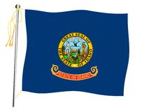 Idaho State Waving Flag And Flagpole royalty free stock photos