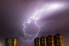 Idaho Thunderstorm Storage Silos Electrical Storm Lightning Strike Royalty Free Stock Images