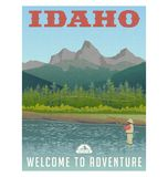 Idaho, travel poster of mountain stream and fly fishing. Idaho, United States travel poster or sticker. Fly fishing in mountain stream stock illustration