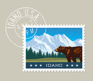 Idaho vector illustration of mountains and grizzly bear. Royalty Free Stock Images