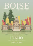 Idaho vector travel poster. United States of America card. USA banner royalty free illustration