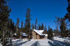 Idaho Winter Log Cabin Stock Photo
