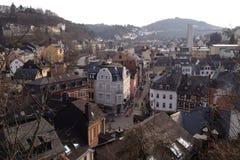 Idar-Oberstein avec une vue de primevère farineuse images libres de droits