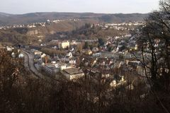 Idar-Oberstein with a bird's-eye view Stock Photos