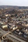 Idar-Oberstein med en fågelperspektiv fotografering för bildbyråer