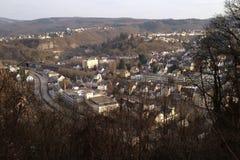 Idar-Oberstein med en fågelperspektiv arkivfoton