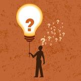 Idébegrepp med makt- och frågefläcken Arkivfoton