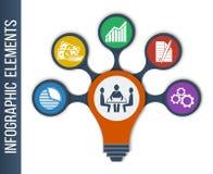 Idébegreppsorientering för teamwork och idékläckning i form av lampan Royaltyfria Bilder