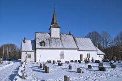 Idd church in winter. Idd Church is a church from around 1100 in Halden, Østfold county. The Church is a rural church in the Romanesque style. The church was Royalty Free Stock Photo
