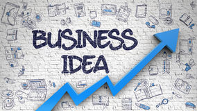 Idée d'affaires dessinée sur le mur de briques Photographie stock libre de droits