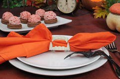 The idea of a table setting for Halloween Royalty Free Stock Images