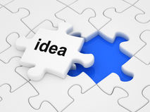 Idea. Word on a piece of puzzle Royalty Free Stock Photography