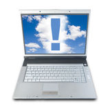 Idea!. Exclamation Mark On Laptop's Screen (with clipping path for easy background removing if needed Stock Images