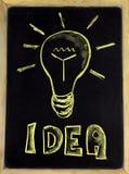 Idea. Lightbulb on a chalkboard symbolizing idea Royalty Free Stock Photo
