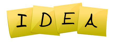 Idea. Yellow Post it making the word idea isolated over white Royalty Free Stock Photography