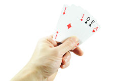 Idea. Winning idea concept with hand holding playing cards royalty free stock photography