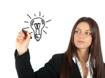 Idea. Drawing and idea on white background Royalty Free Stock Images