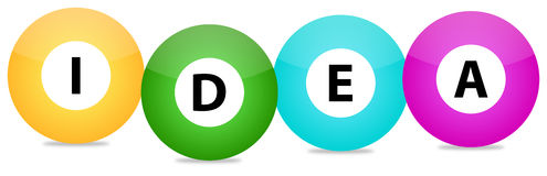 Idea. Illustration Of A Idea Text Written On Colored Balls Stock Image