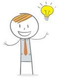Idea. Doodle stick figure: Businessman with big idea Royalty Free Stock Photo