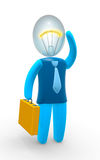 Idea. Businessman with bulb head. Concept of idea, inspiration, intelligence and invention Royalty Free Stock Image