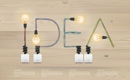 `IDEA` Abstract alphabet of light bulb and light switch on wood texture background. Vector illustration Royalty Free Illustration