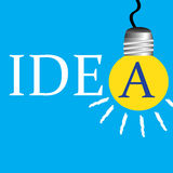 Idea. Abstract colorful background with yellow light bulb hanging instead of the A letter from the idea word Royalty Free Stock Photo