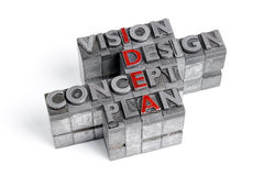 IDEA acronym blocks. Idea as an acronym with the words Vision Design Concept and Plan in old metal letterpress printing blocks isolated on white stock images