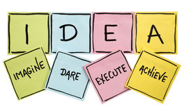 Idea acronym - motivation concept. Idea acronym imagine, dare, execute, achieve - motivation concept - handwriting in black on colorful sticky notes isolated on royalty free stock image