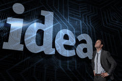 Idea against futuristic black and blue background Royalty Free Stock Image