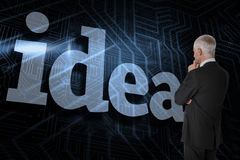 Idea against futuristic black and blue background Stock Image