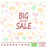 Idea for Autumn sale banner for shopping discount promotion. Idea for Autumn sale banner with colorful seasonal fall leaves, pumpkins and mushrooms for shopping royalty free illustration