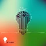 Idea. Be creative. Light bulb in hand drawn doodle style. Creative light bulb. Vector concept - creativity and idea Stock Illustration