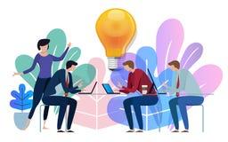 Idea big bulb above. Business team working talking together at big conference desk. Illustration on white background. Idea big bulb above. Business team working royalty free illustration