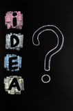 Idea with a big question mark. Drawn with chalk Royalty Free Stock Photography