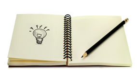 Idea book. Note down the idea on book Royalty Free Stock Photography