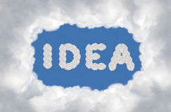 Idea box. Cloud on blue background,idea box Royalty Free Stock Photography