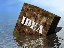 Idea box on the beach. Idea box washed up on the beach Royalty Free Stock Photo
