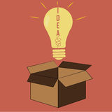 Idea from a box. A bright yellow bulb coming out from a brown box royalty free illustration