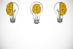 Idea and brainstorm backdrop. Creative lamp and brain sketch on white backdrop. Idea and brainstorm concept vector illustration