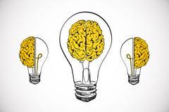 Idea and brainstorm background. Creative lamp and brain sketch on white background. Idea and brainstorm concept stock illustration
