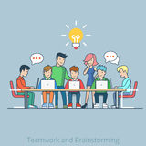 Idea brainstorming creative team flat vector infog Royalty Free Stock Photography