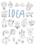 Idea, brainstorming icons in Doodle style vector. Illustration set royalty free illustration