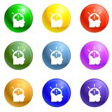 Idea brainstorming icons set vector. Idea brainstorming icons vector 9 color set isolated on white background for any web design vector illustration