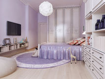 Idea of bright bedroom for girls Stock Photos