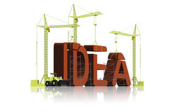 Idea building creativity inventions ideas. Tower cranes building 3D word idea be creative and innovative get inspiration to improve improvement leads to a better Stock Photos